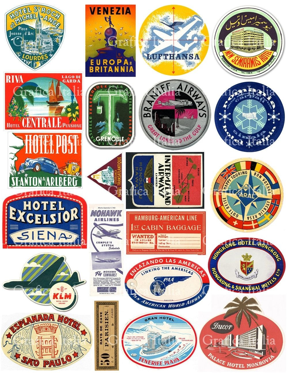 22 Travel Luggage Labels - Retro Digital Printable Collage Sheets - Free Printable Travel Stickers