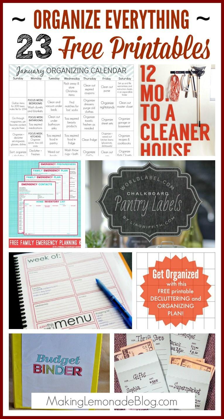 23 Free Printables To Organize Everything | Making Lemonade - Free Home Organization Printables