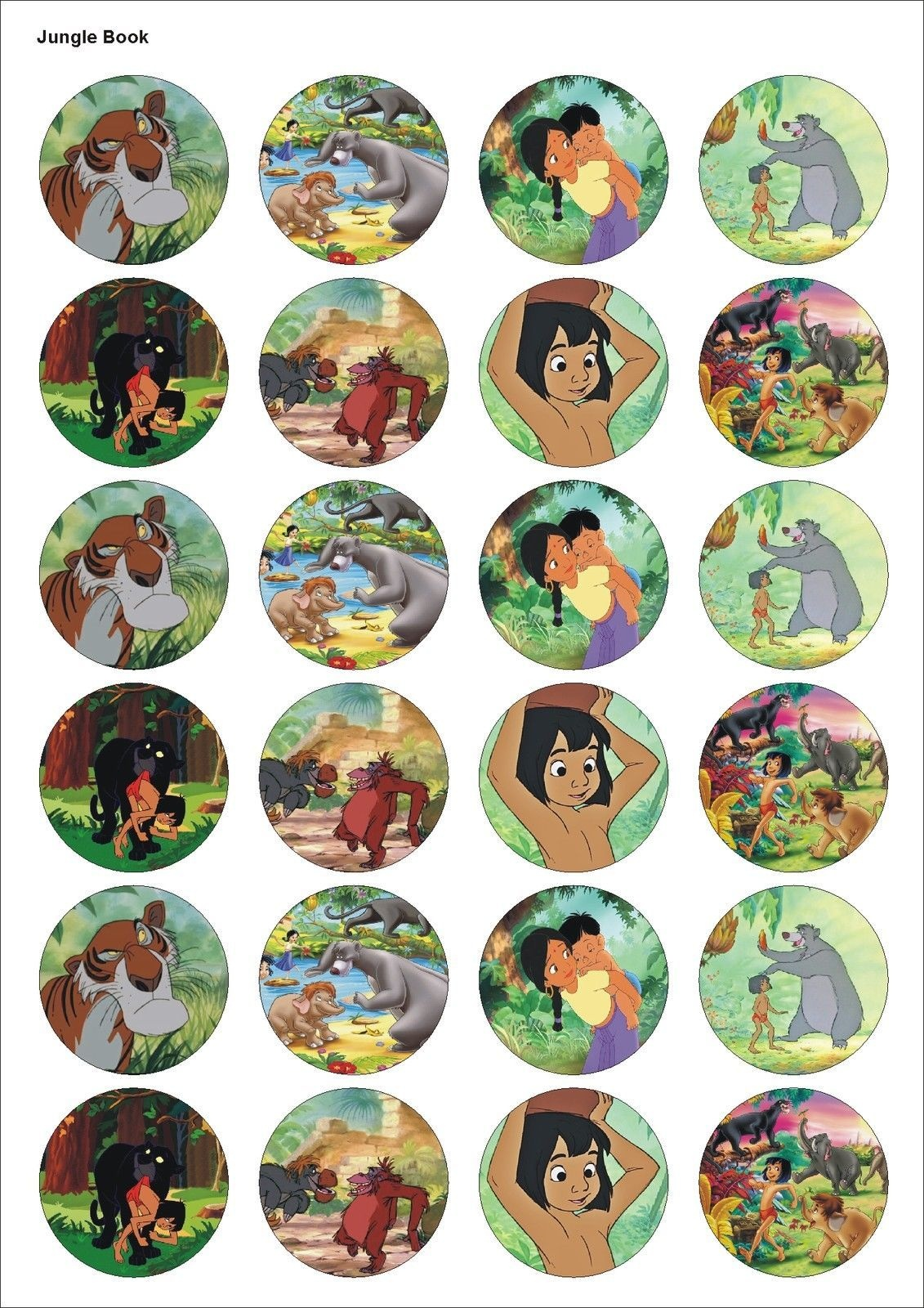 24 Precut Jungle Book Film Kids Birthday Edible Party Cupcake Cake - Free Printable Jungle Book Masks