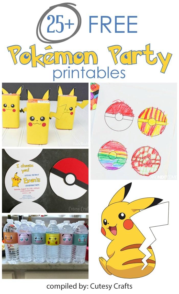 25+ Free Pokemon Party Printables - Cutesy Crafts - Pokemon Printables Free