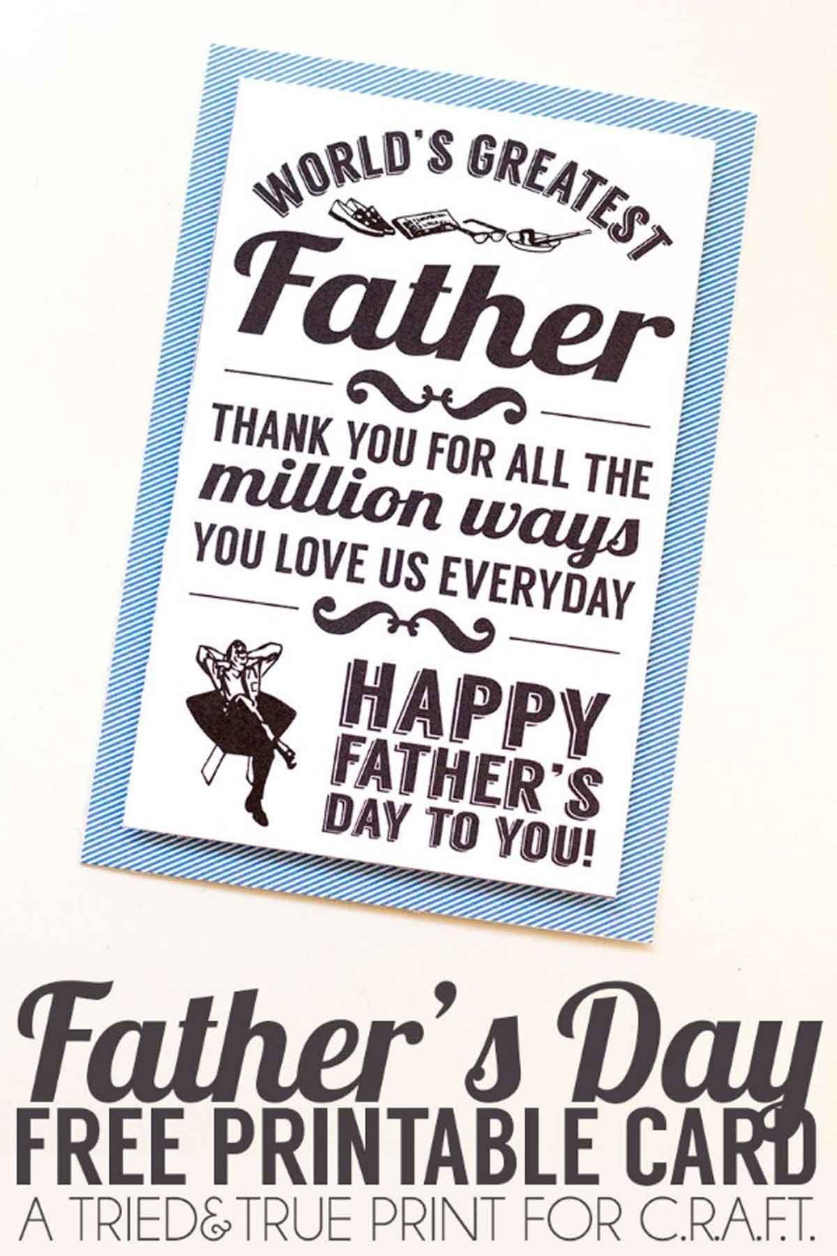 25 Printable Father's Day Cards - Free Printable Cards For Father's Day - Father's Day Card Printable Free