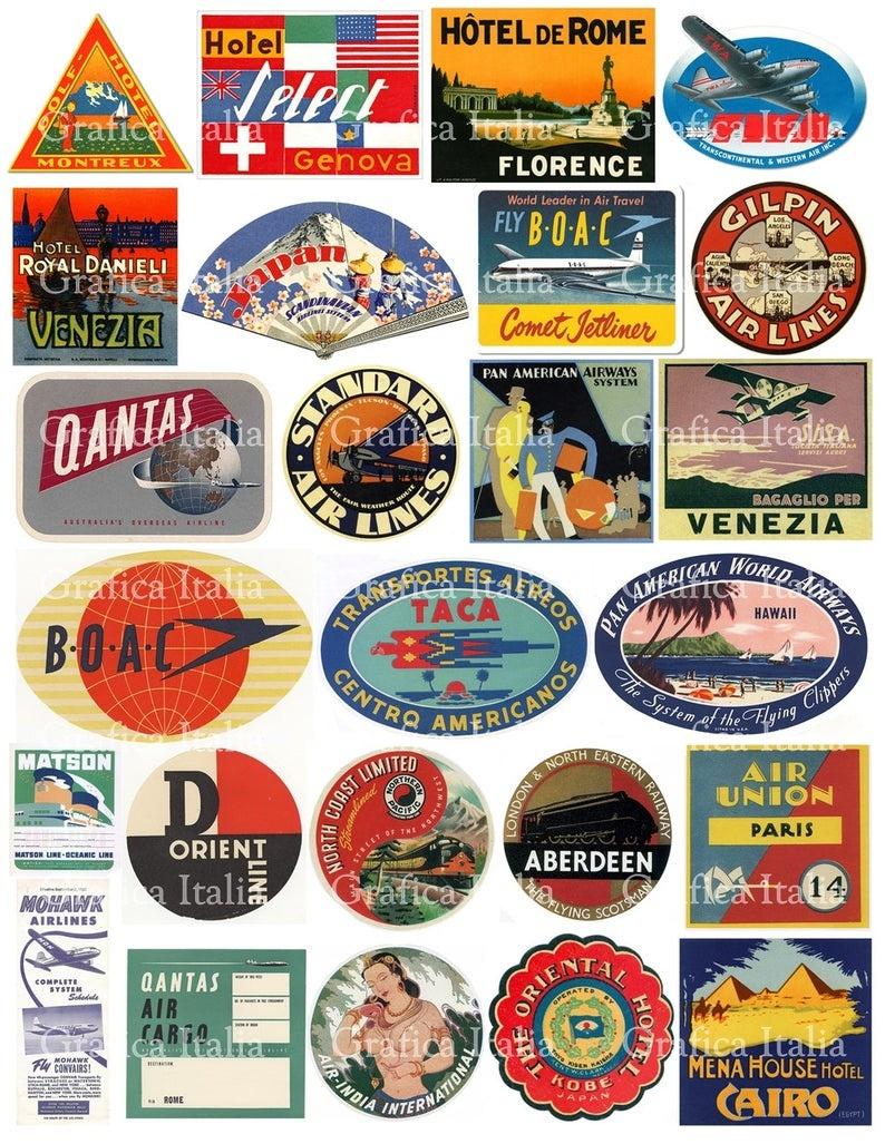 25 Travel Luggage Stickers Retro Digital Printable Collage | Etsy - Free Printable Travel Stickers