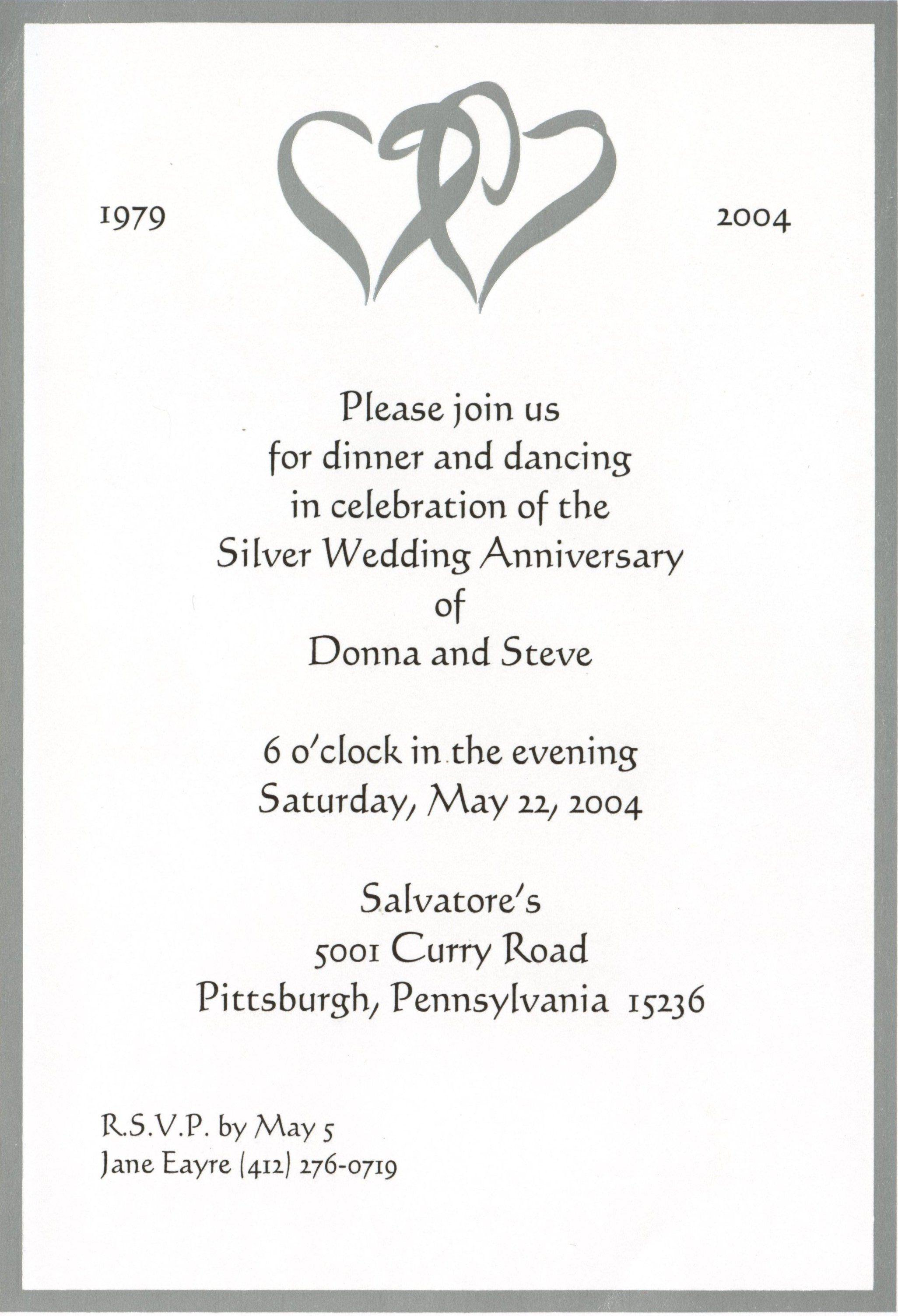 25Th Wedding Anniversary Invitation Cards Templates • Invitation - Free Printable 40Th Anniversary Invitations