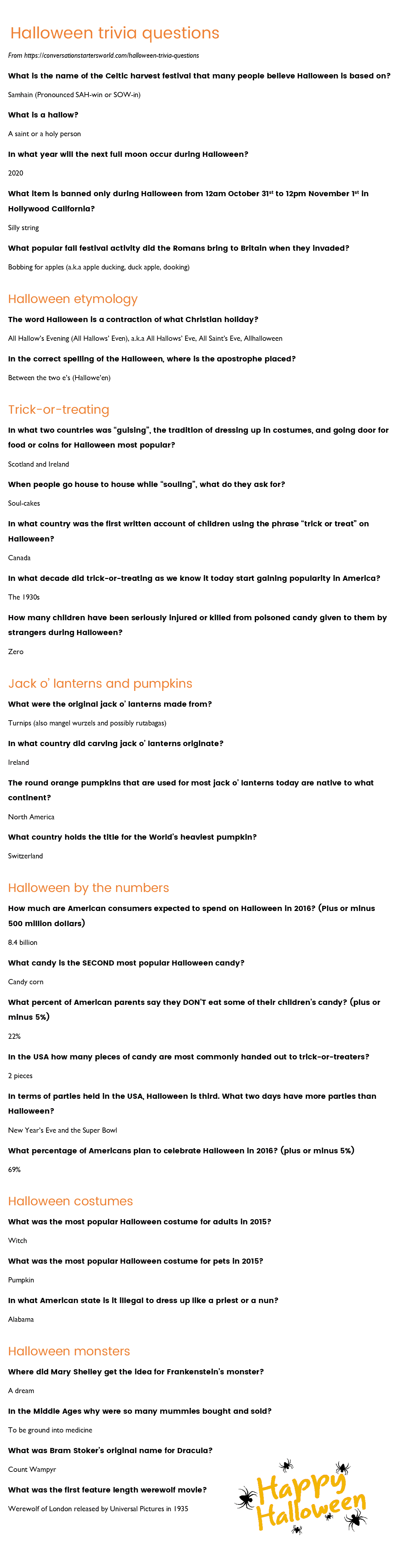 29 Challenging Halloween Trivia Questions - How Many Can You Answer? - Free Printable Black History Trivia Questions And Answers