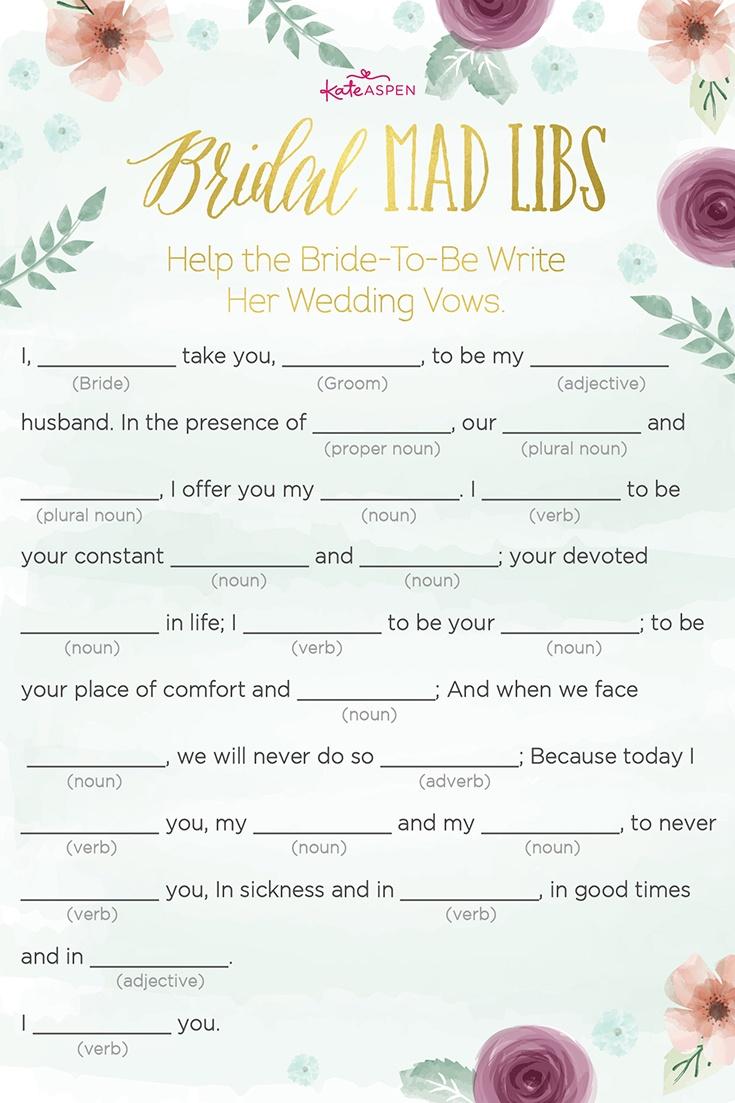 3 Bridal Shower Games + Free Printables   Kate Aspen Blog - Free Printable Wedding Mad Libs