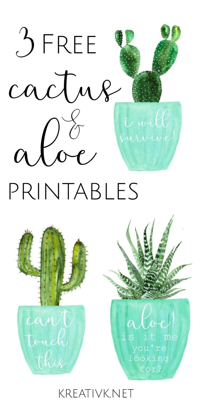 3 Free Cactus & Aloe Printables | Free Printables | Cactus - Free Cactus Printable