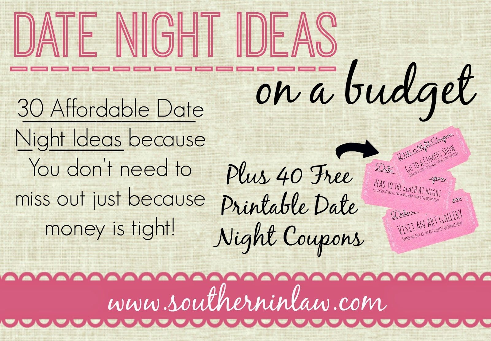 30 Affordable Date Night Ideas For When You're On A Tight Budget - Free Printable Date Night Coupon