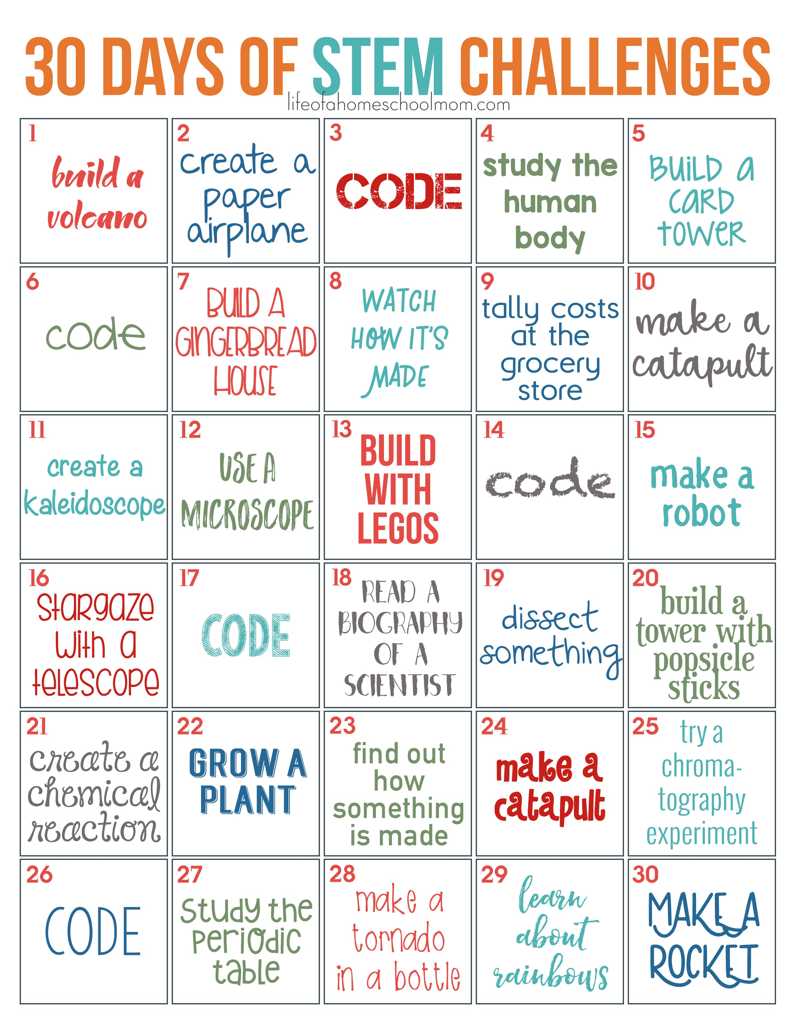 30 Days Of Stem Challenges - Free Printable! - Life Of A Homeschool Mom - Free Printable Stem Activities