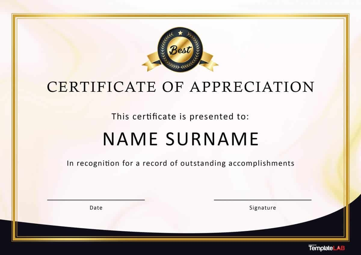 30 Free Certificate Of Appreciation Templates And Letters - Free Printable Certificate Of Appreciation