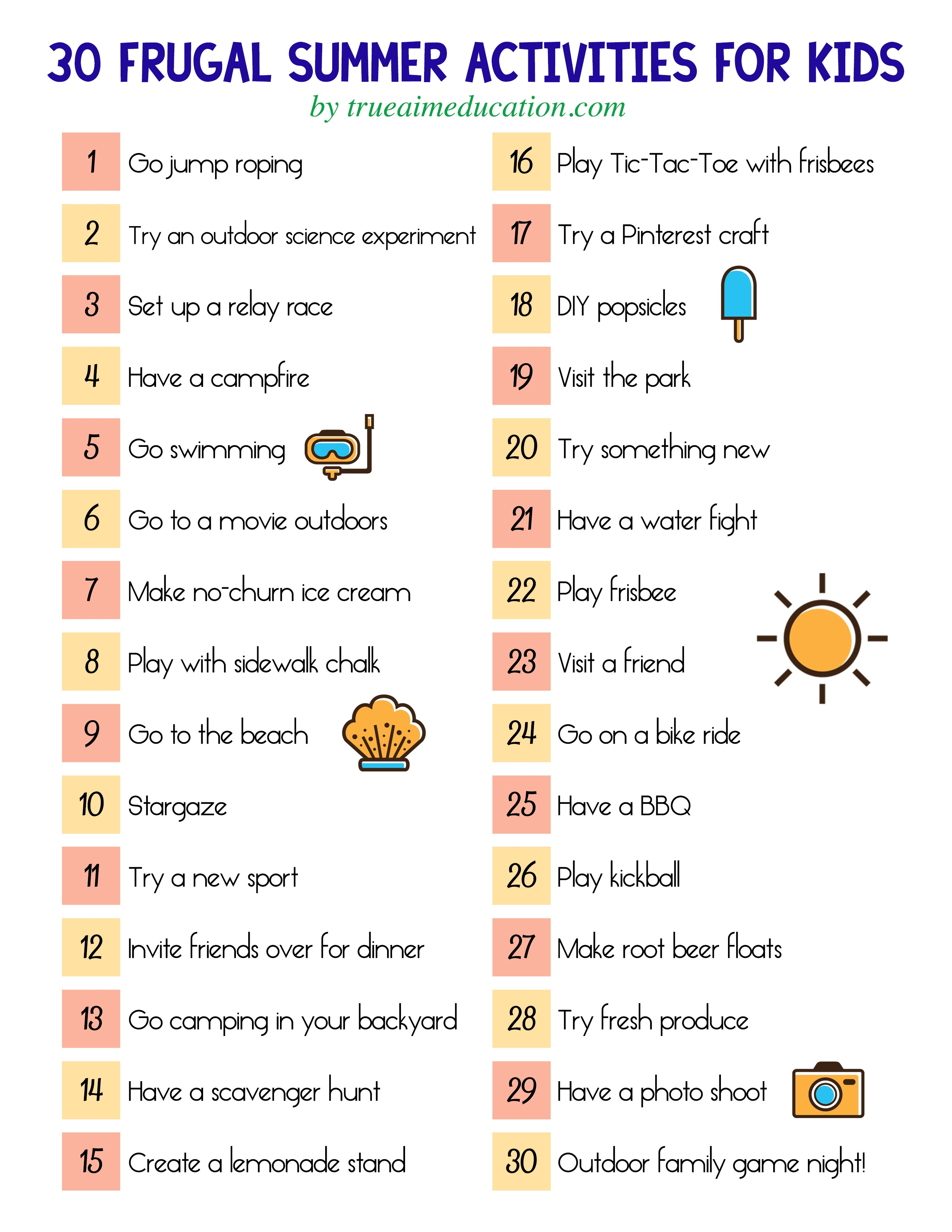 30 Frugal Summer Activities + A Free Printable - Free Printable Summer Games