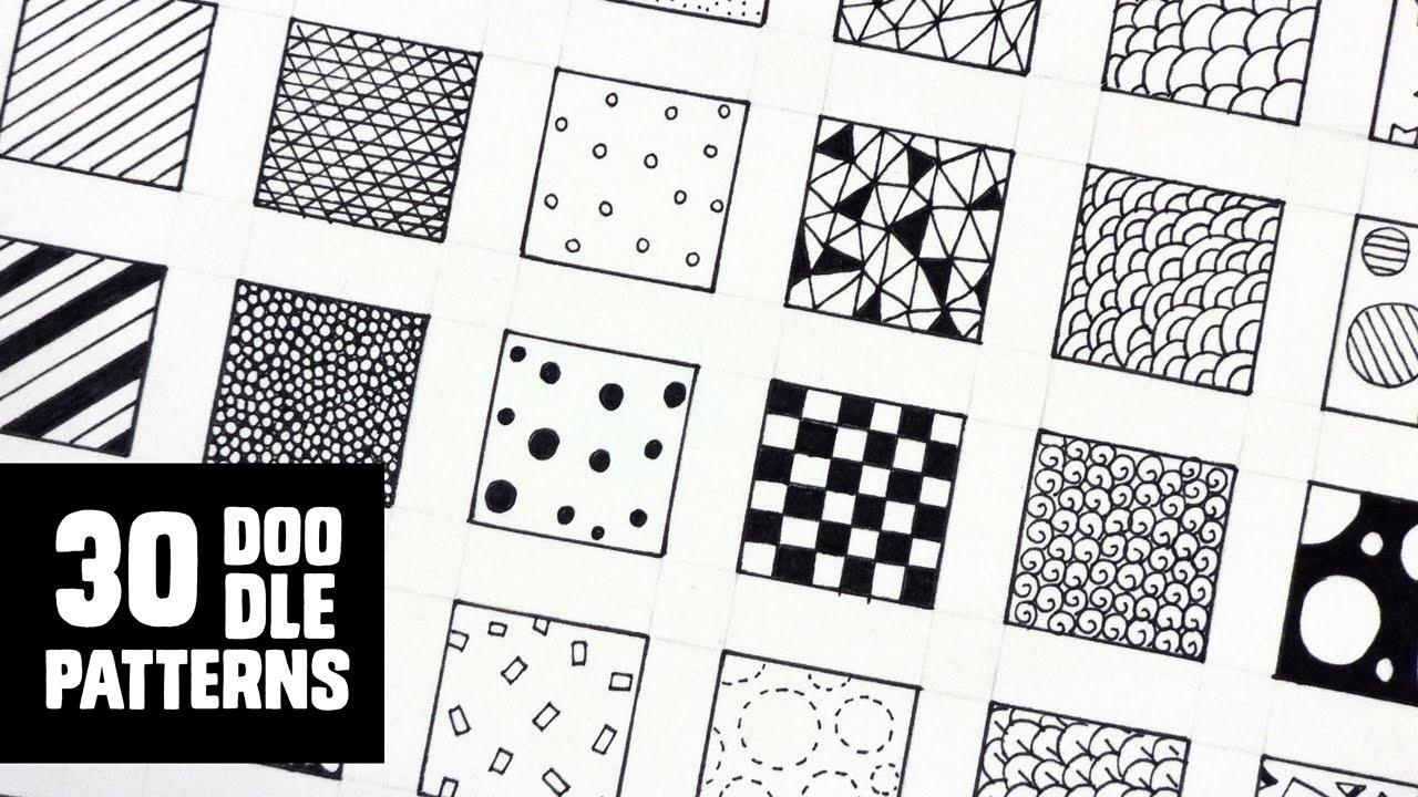 30 Patterns For Doodling / Filling Gaps - Youtube - Free Printable Doodle Patterns
