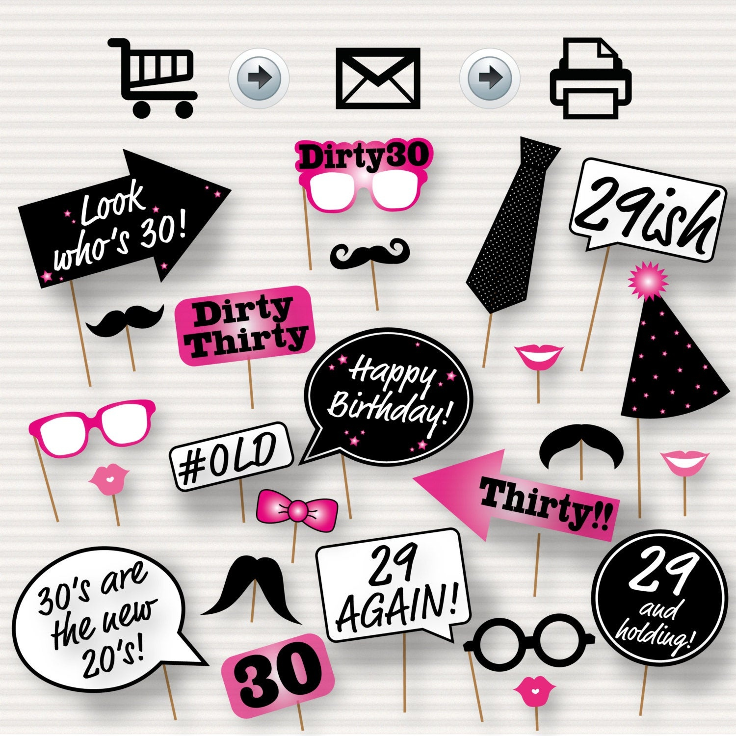 30Th Birthday Party Printable Photo Booth Props Pink | Etsy - Free Printable 30Th Birthday Photo Booth Props