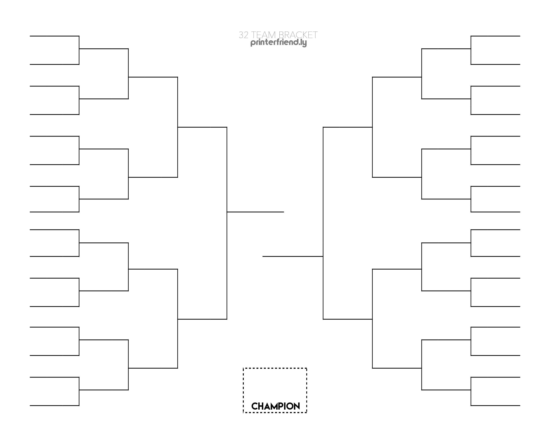 32 Tournament Team Bracket - Printerfriendly - Free Printable Wrestling Brackets