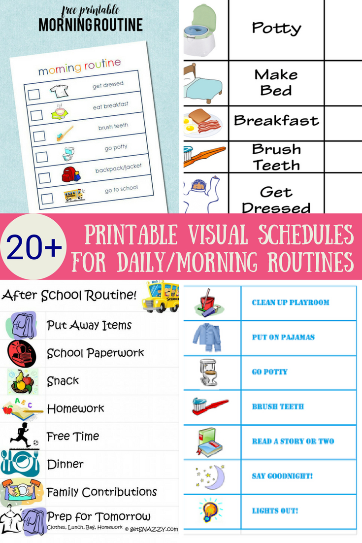 33 Printable Visual/picture Schedules For Home/daily Routines.   Hs - Free Printable Schedule Cards