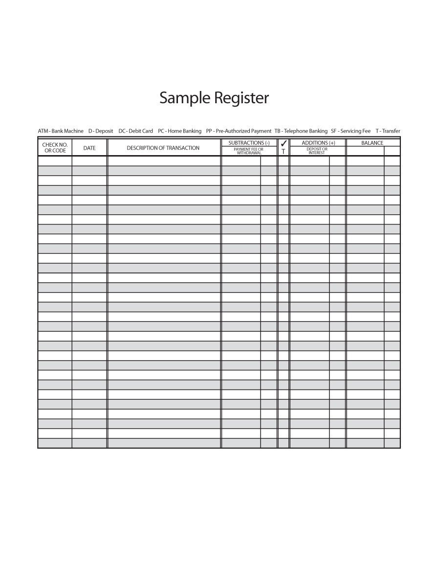 37 Checkbook Register Templates [100% Free, Printable] ᐅ Template Lab - Free Printable Check Register