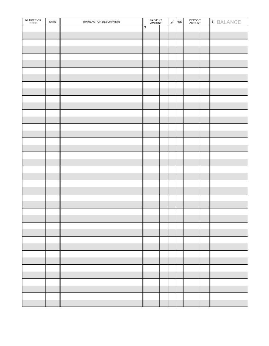 37 Checkbook Register Templates [100% Free, Printable] ᐅ Template Lab - Free Printable Check Register Templates