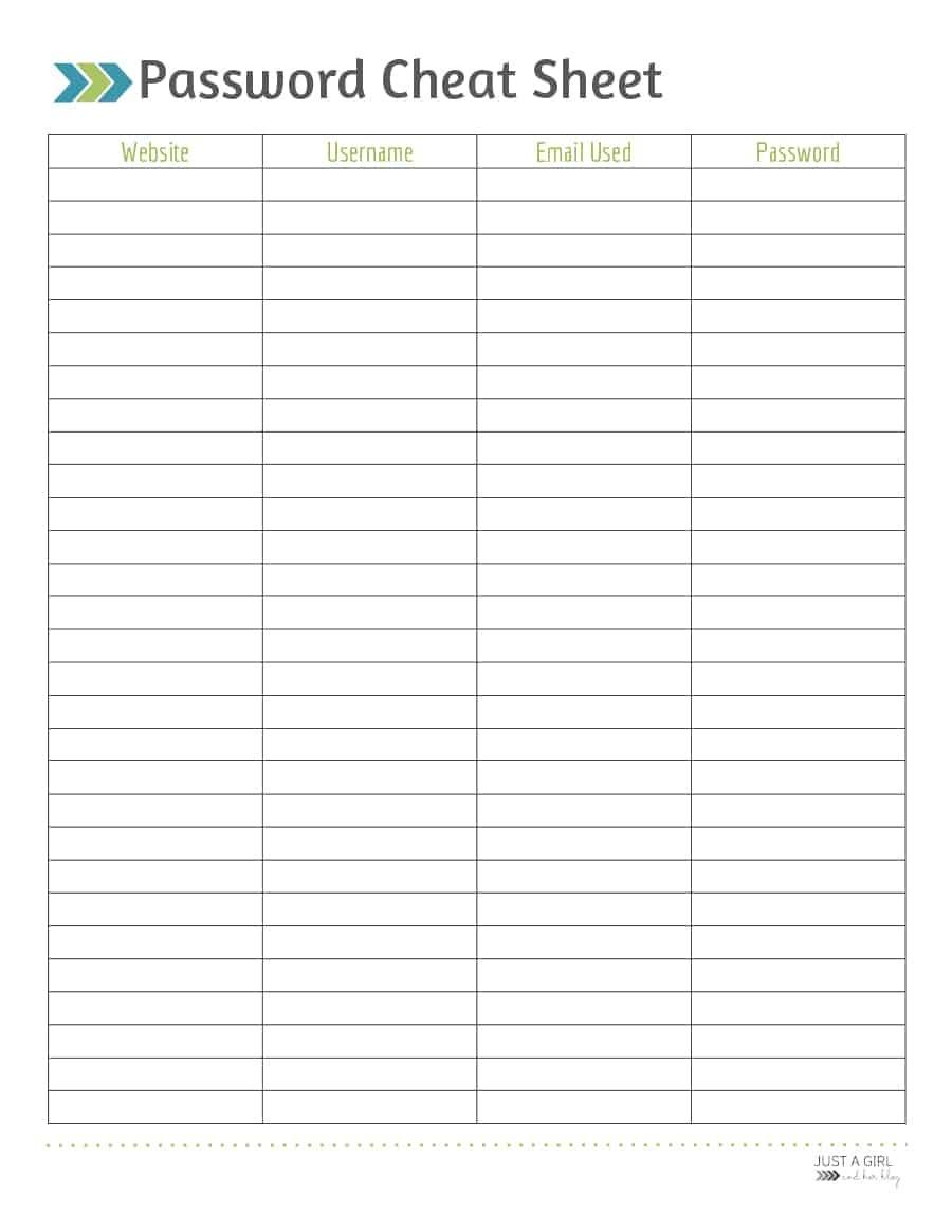 39 Best Password List Templates (Word, Excel & Pdf) ᐅ Template Lab - Free Printable Password Sheet
