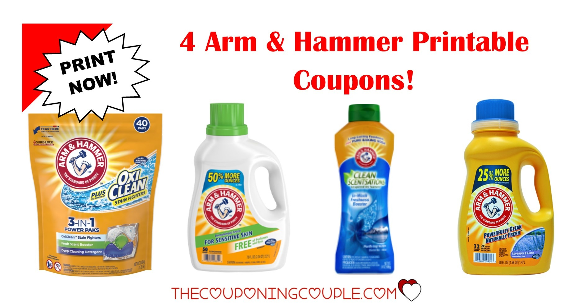 4 Arm & Hammer Printable Coupons ~ Print Now!! Don't Miss Out! - Free Printable Arm And Hammer Laundry Detergent Coupons