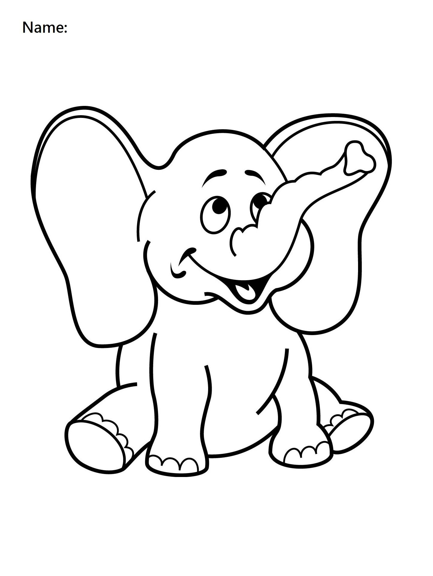 4 Year Old Worksheets Printable Coloring Elephant | Preschool - Free Printable Coloring Pages For 2 Year Olds