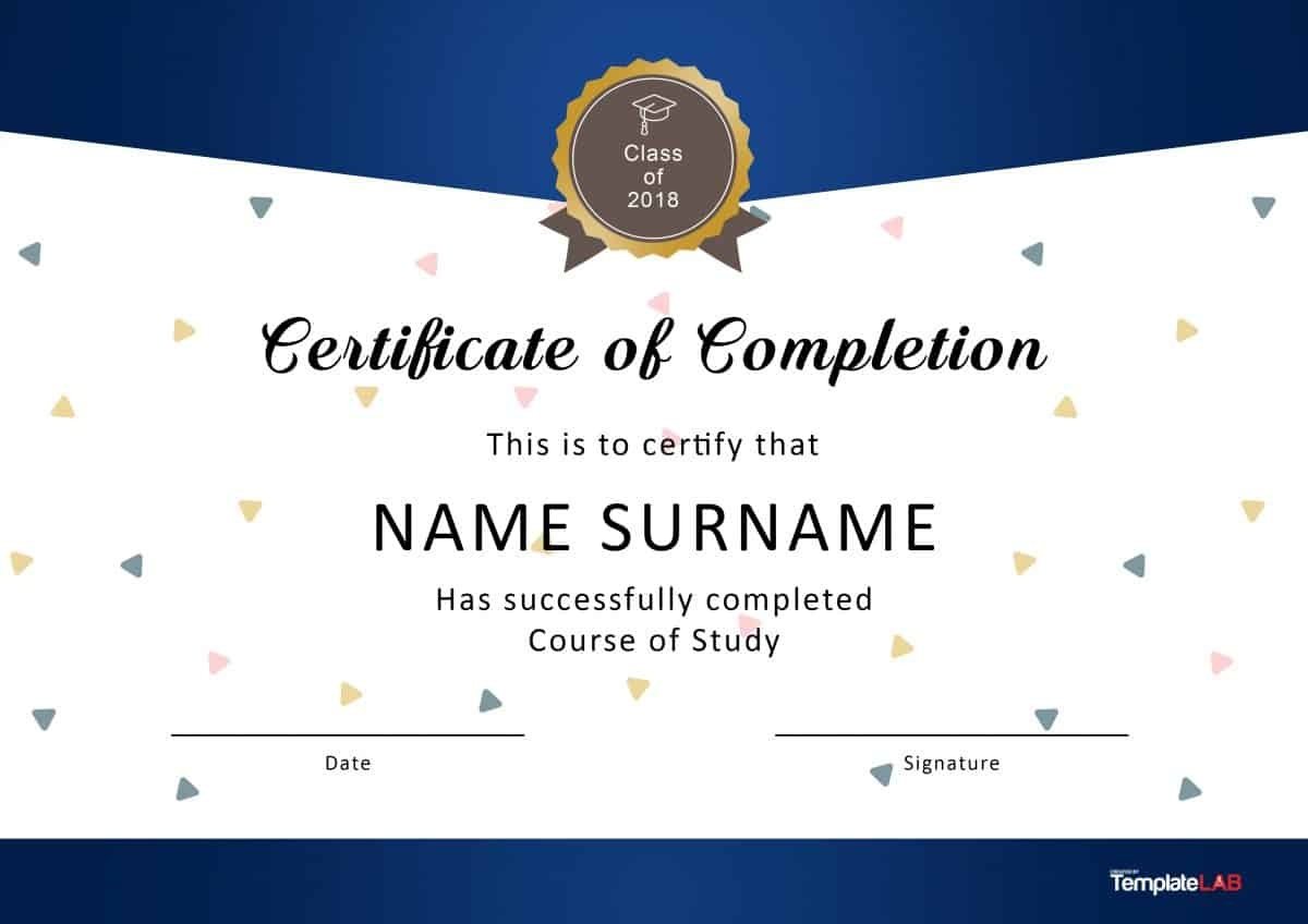 40 Fantastic Certificate Of Completion Templates [Word, Powerpoint] - Certificate Of Completion Template Free Printable