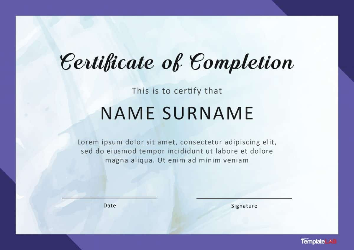 40 Fantastic Certificate Of Completion Templates [Word, Powerpoint] - Free Printable Certificate Of Completion