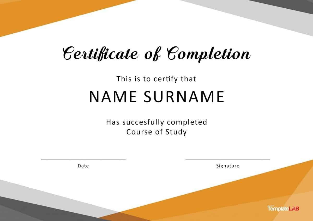40 Fantastic Certificate Of Completion Templates [Word, Powerpoint] - Free Printable Certificate Templates