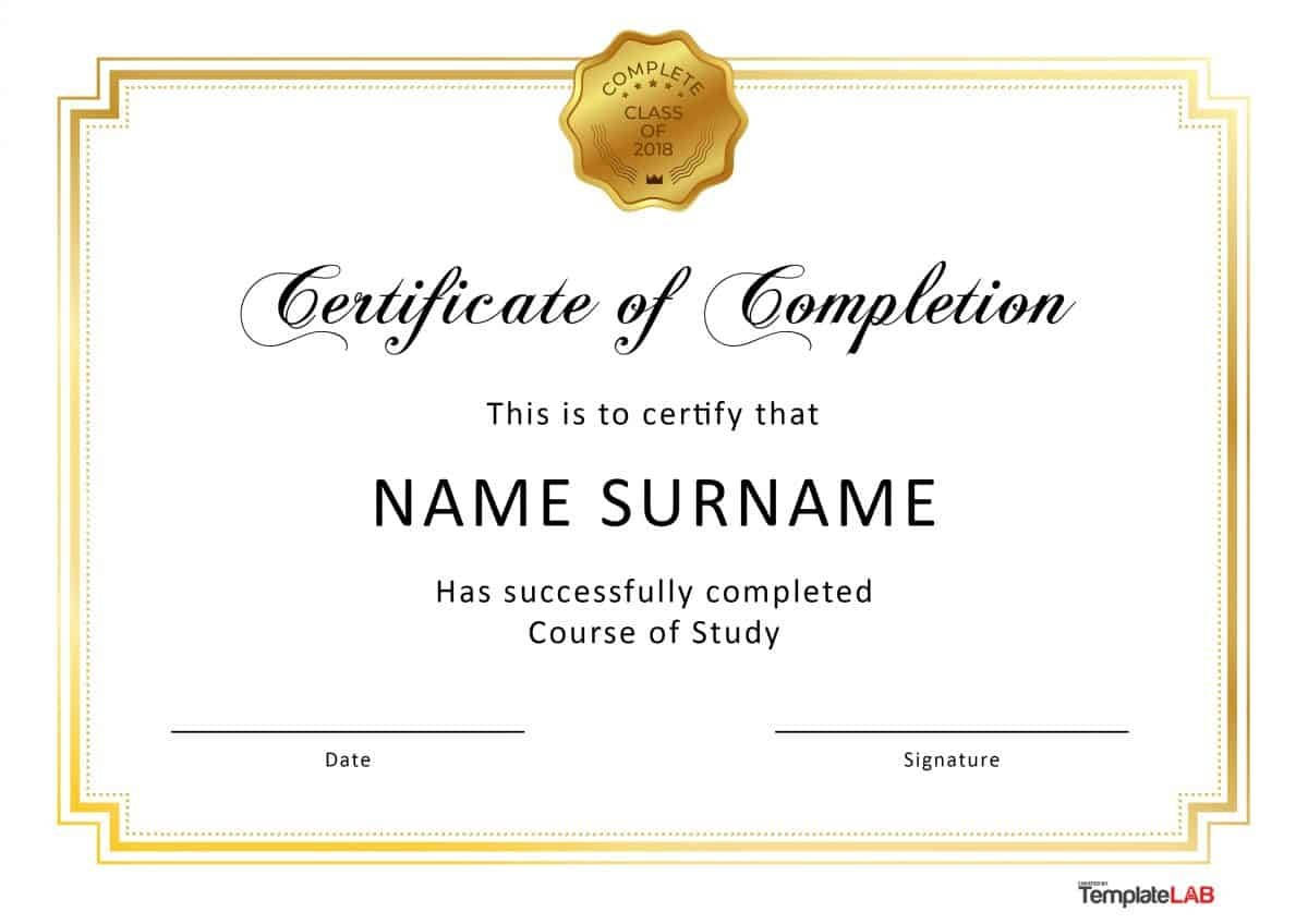 40 Fantastic Certificate Of Completion Templates [Word, Powerpoint] - Free Printable Certificates Of Achievement