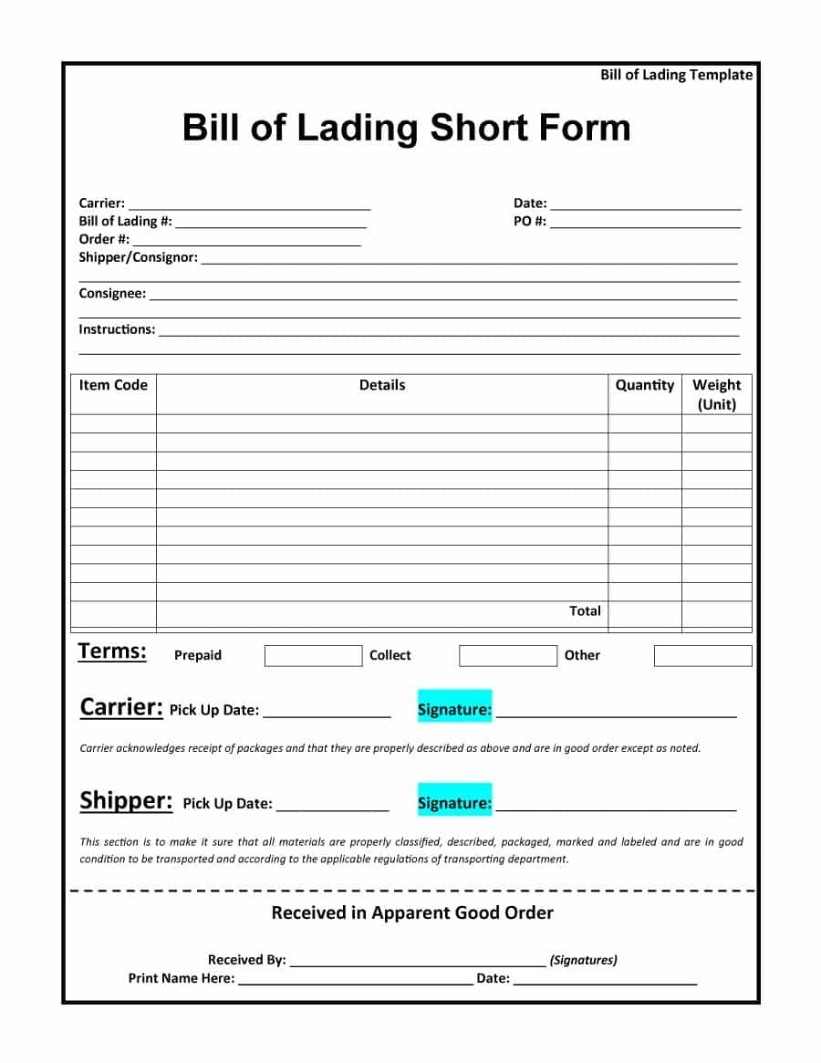 40 Free Bill Of Lading Forms & Templates ᐅ Template Lab - Free Printable Straight Bill Of Lading