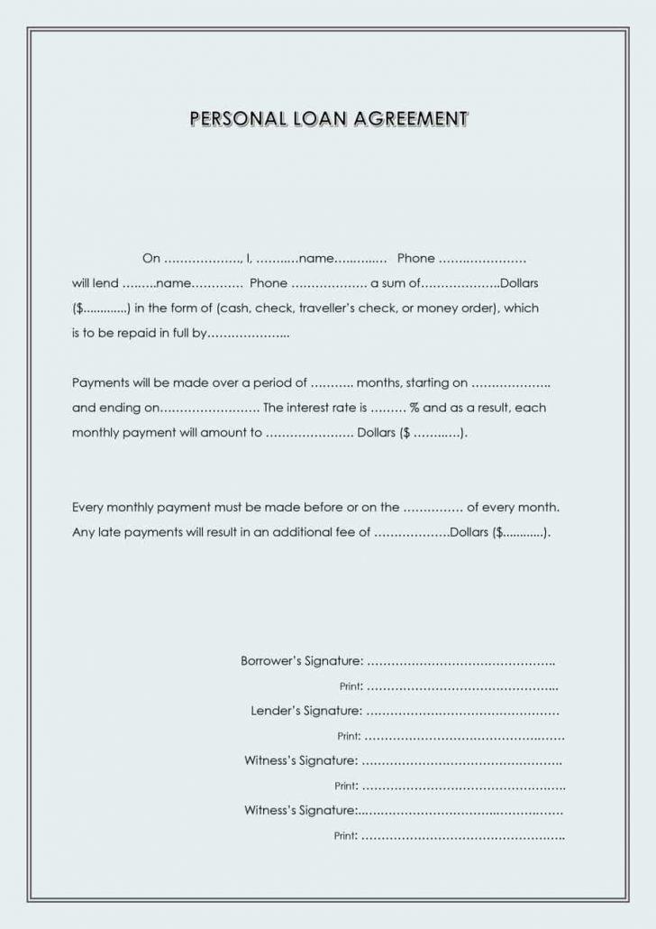 Free Printable Loan Forms
