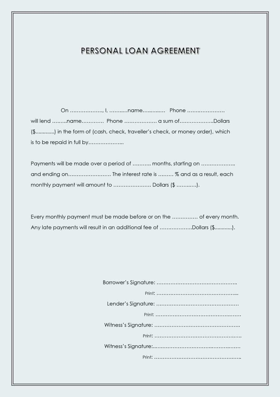 40+ Free Loan Agreement Templates [Word & Pdf] ᐅ Template Lab - Free Printable Personal Loan Forms