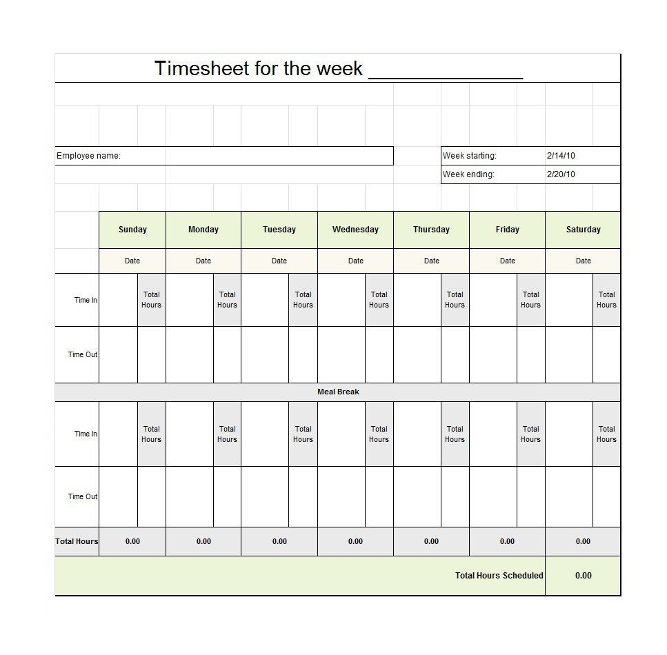 40 Free Timesheet / Time Card Templates ᐅ Template Lab - Time Management Forms Free Printable