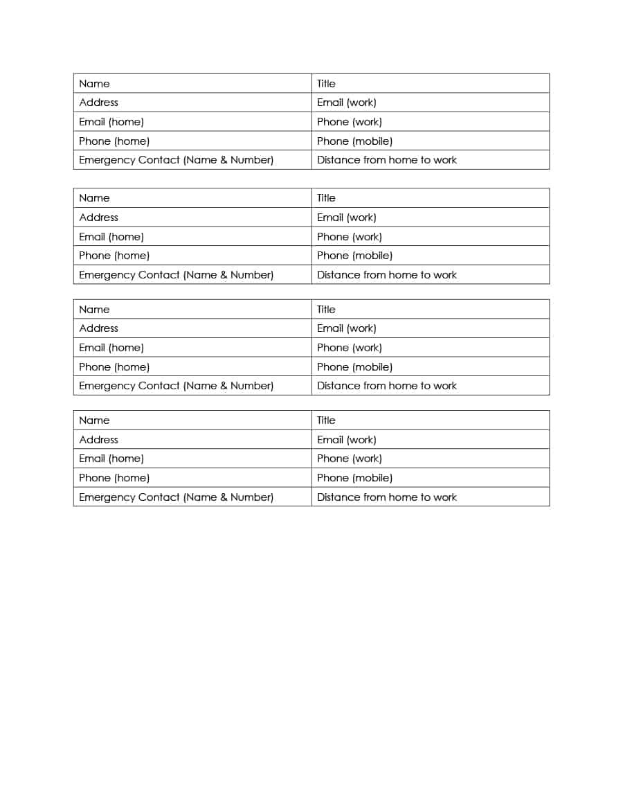 40 Phone & Email Contact List Templates [Word, Excel] ᐅ Template Lab - Free Printable Blank Address Book Pages