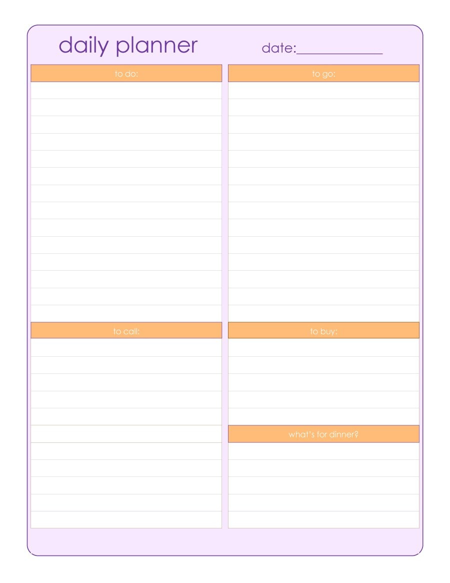 40+ Printable Daily Planner Templates (Free) ᐅ Template Lab - Free Printable Daily Schedule Chart