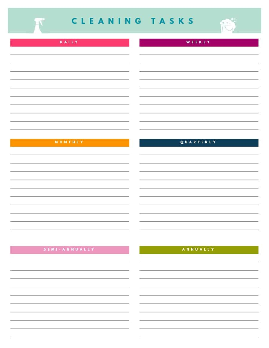 40 Printable House Cleaning Checklist Templates ᐅ Template Lab - Free Printable Cleaning Schedule Template