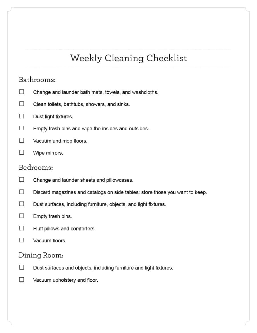 40 Printable House Cleaning Checklist Templates ᐅ Template Lab - Free Printable House Cleaning Checklist