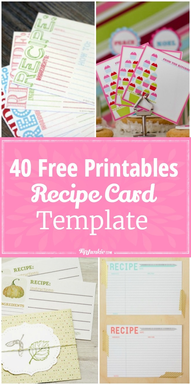 40 Recipe Card Template And Free Printables – Tip Junkie - Free Printable Recipes