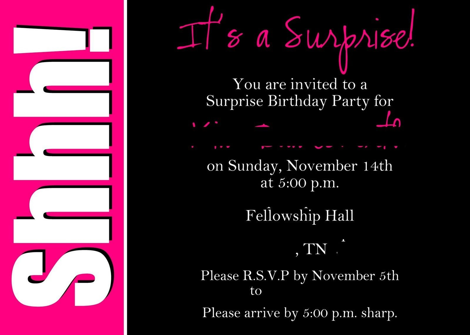 40Th Surprise Birthday Party Invitations | Free Printable Birthday - Free Printable Surprise Party Invitations