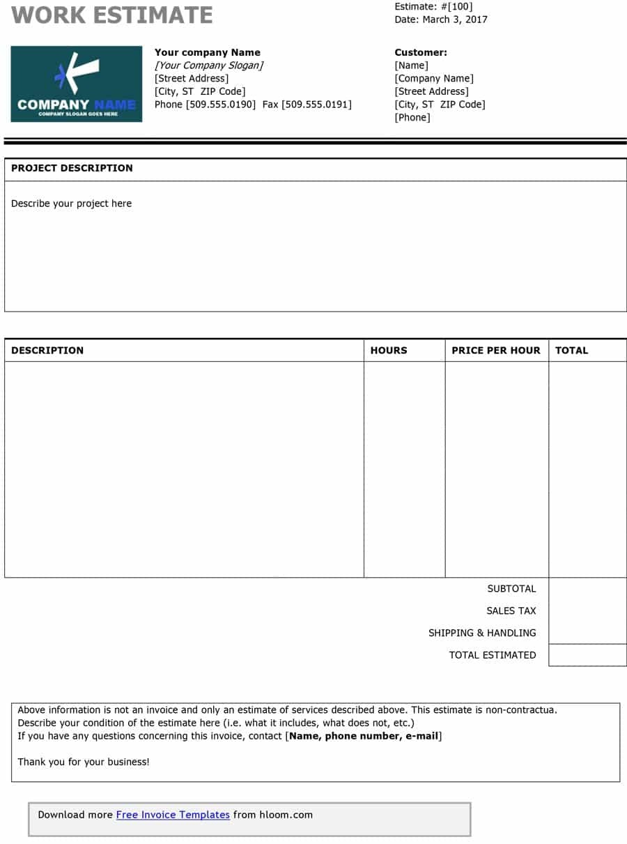 44 Free Estimate Template Forms [Construction, Repair, Cleaning] - Free Printable Estimate Forms