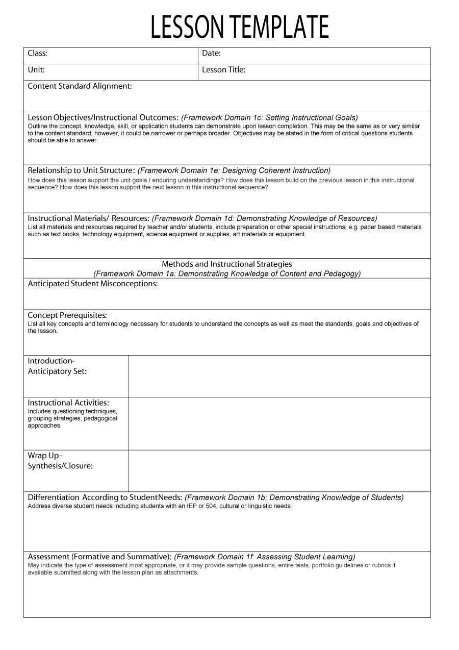 44 Free Lesson Plan Templates [Common Core, Preschool, Weekly] - Free Printable Preschool Teacher Resources