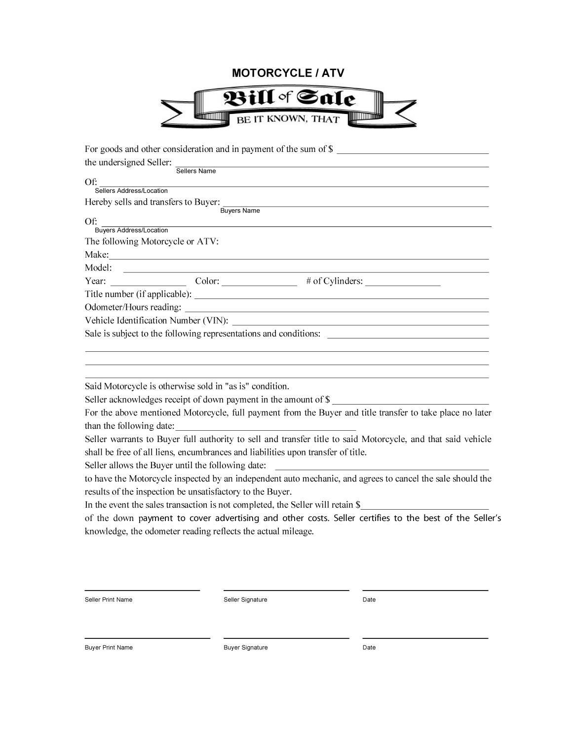 45+ Fee Printable Bill Of Sale Templates (Car, Boat, Gun, Vehicle - Free Printable Bill Of Sell