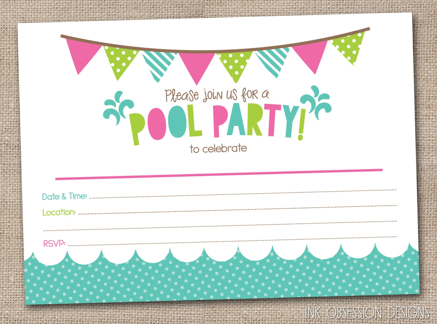 45 Pool Party Invitations | Kittybabylove - Free Printable Water Birthday Party Invitations