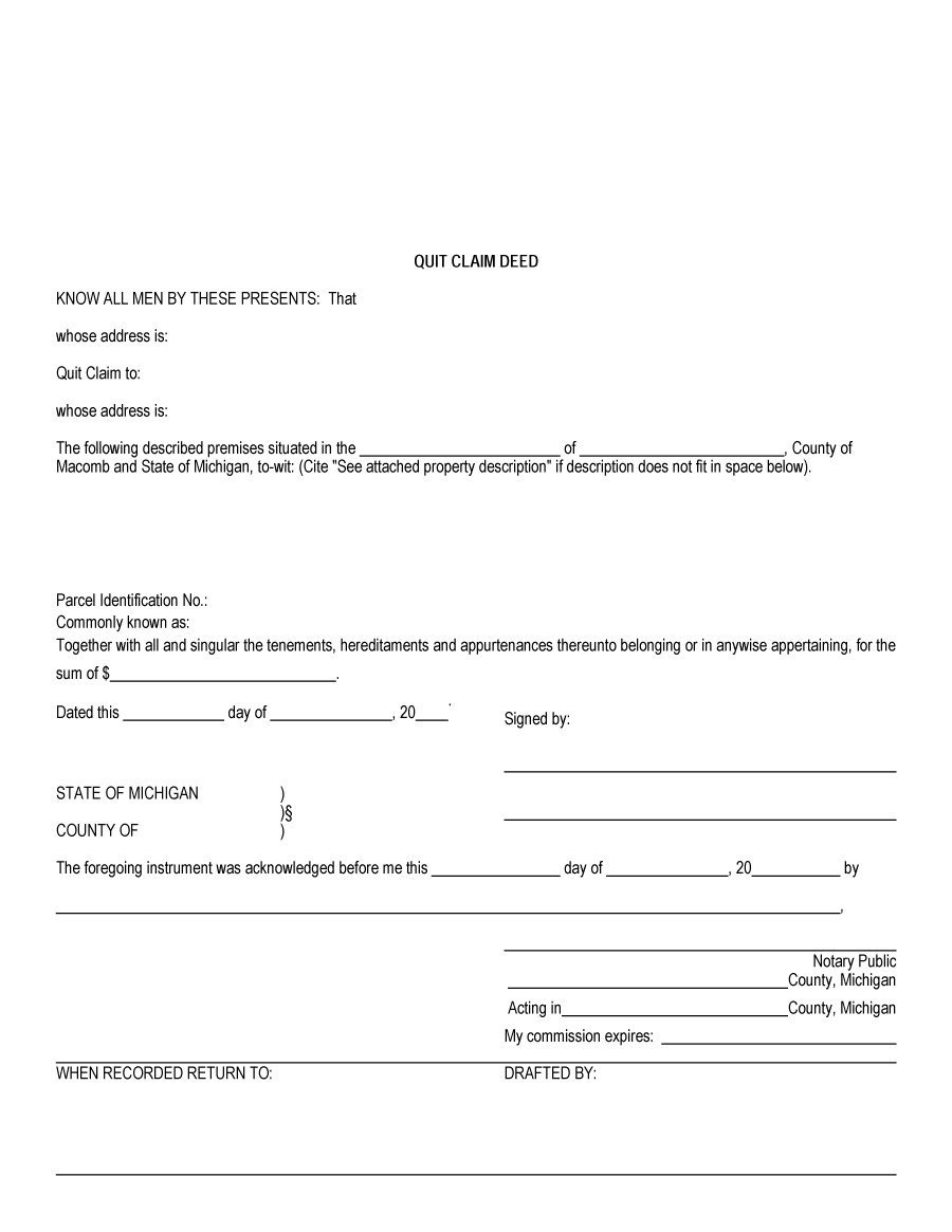 46 Free Quit Claim Deed Forms & Templates ᐅ Template Lab - Free Printable Quit Claim Deed Form