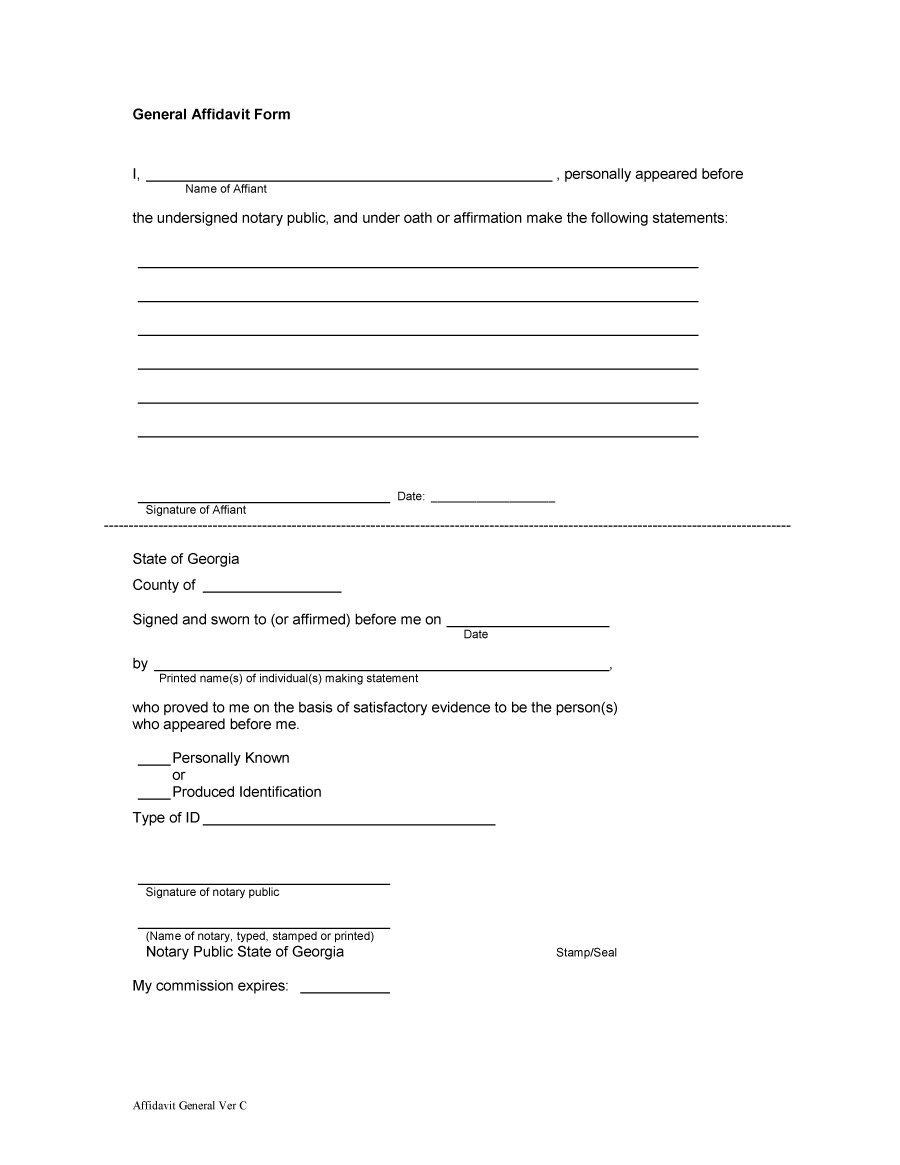 48 Sample Affidavit Forms & Templates (Affidavit Of Support Form) - Free Printable Blank Affidavit Form