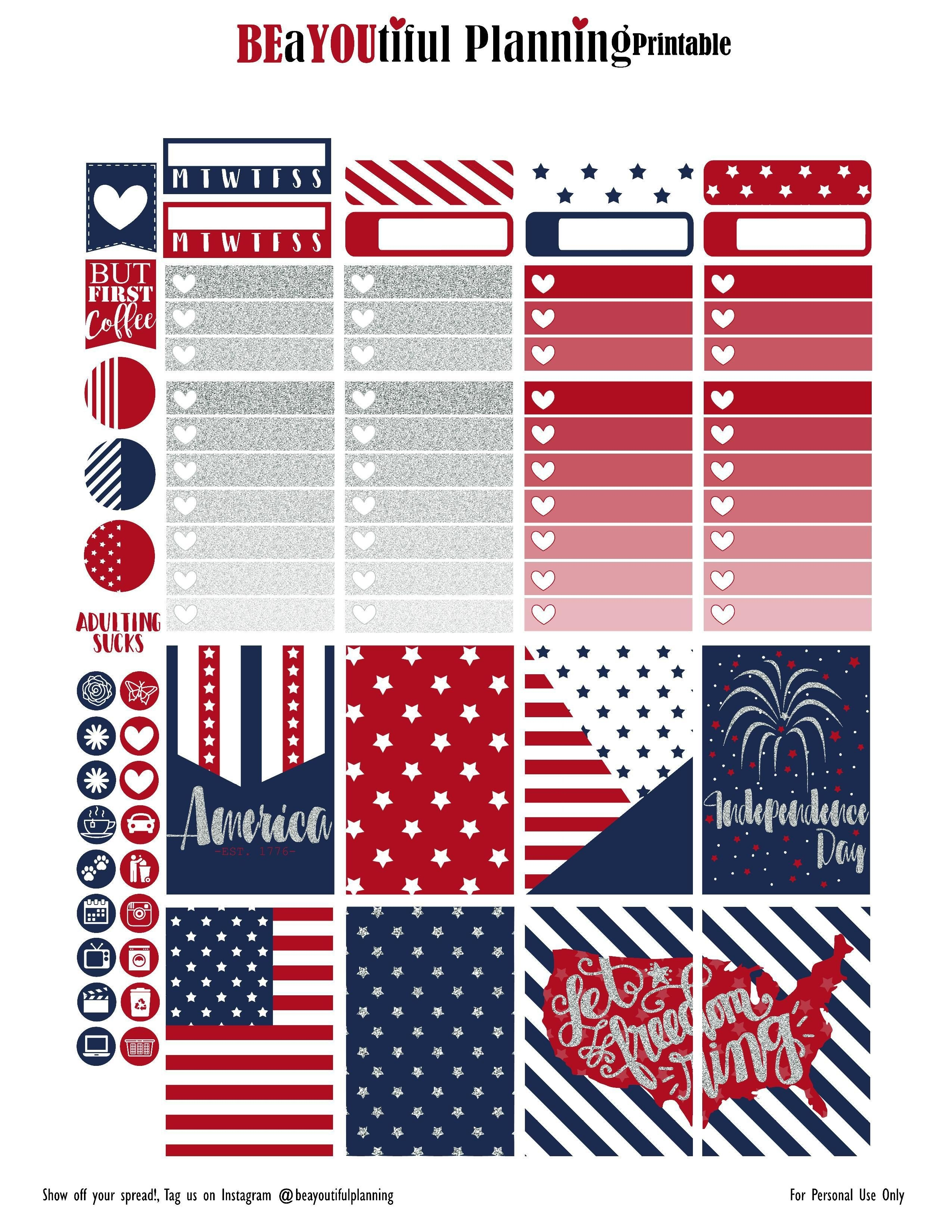 4Th Of July – Free Printable   Planners & Bullet Journals   Create - Free Printable 4Th Of July Pictures