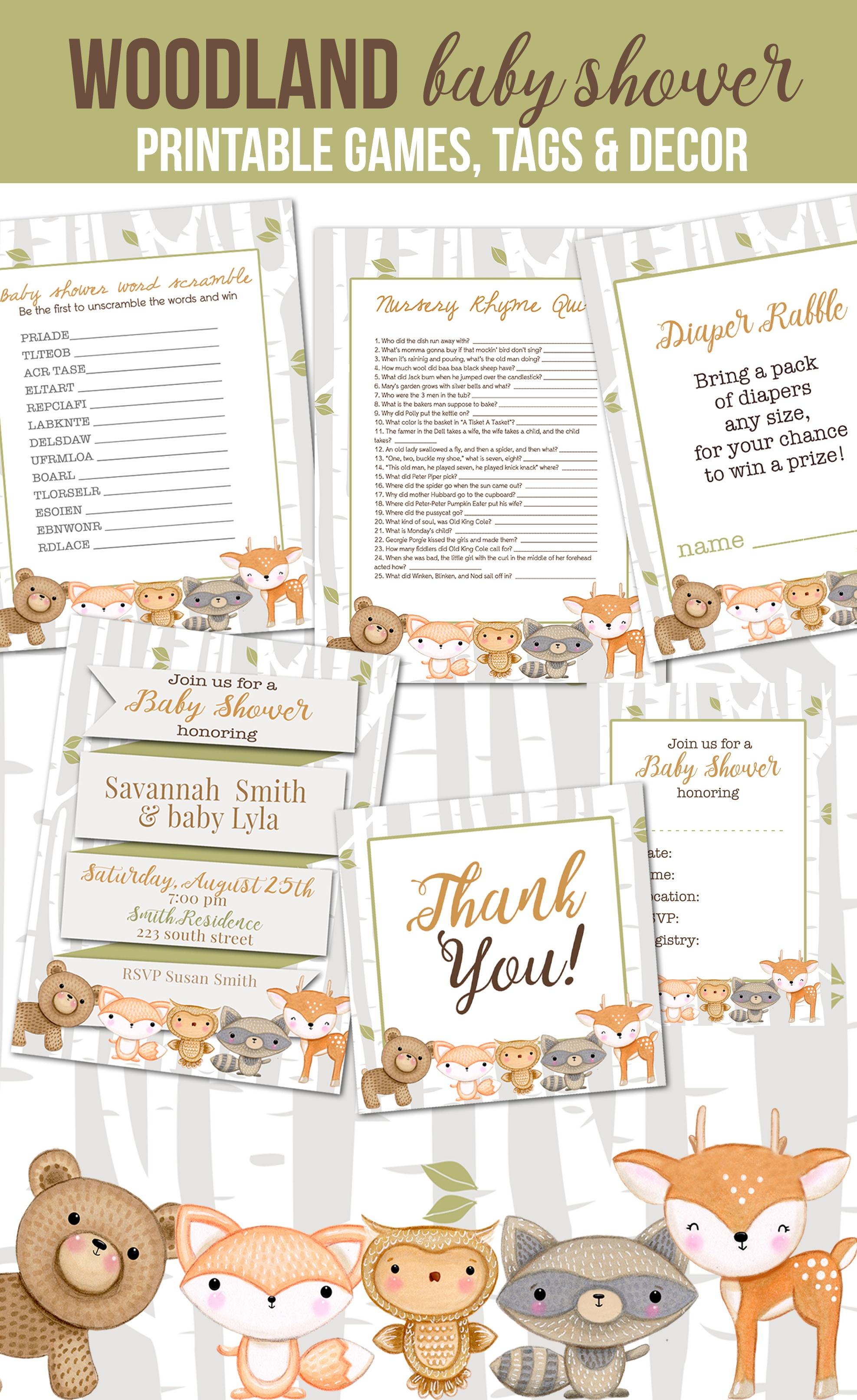 5 Darling Woodland Animal Baby Shower Free Printables And Ideas For - Free Woodland Animal Printables