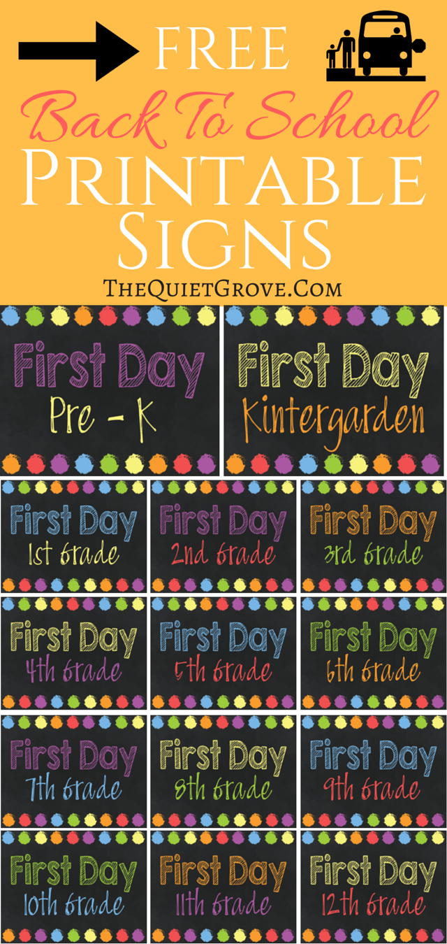 5 Free Back To School Printable Sign Sets   The Quiet Grove   Best - Free Printable Back To School Signs 2017
