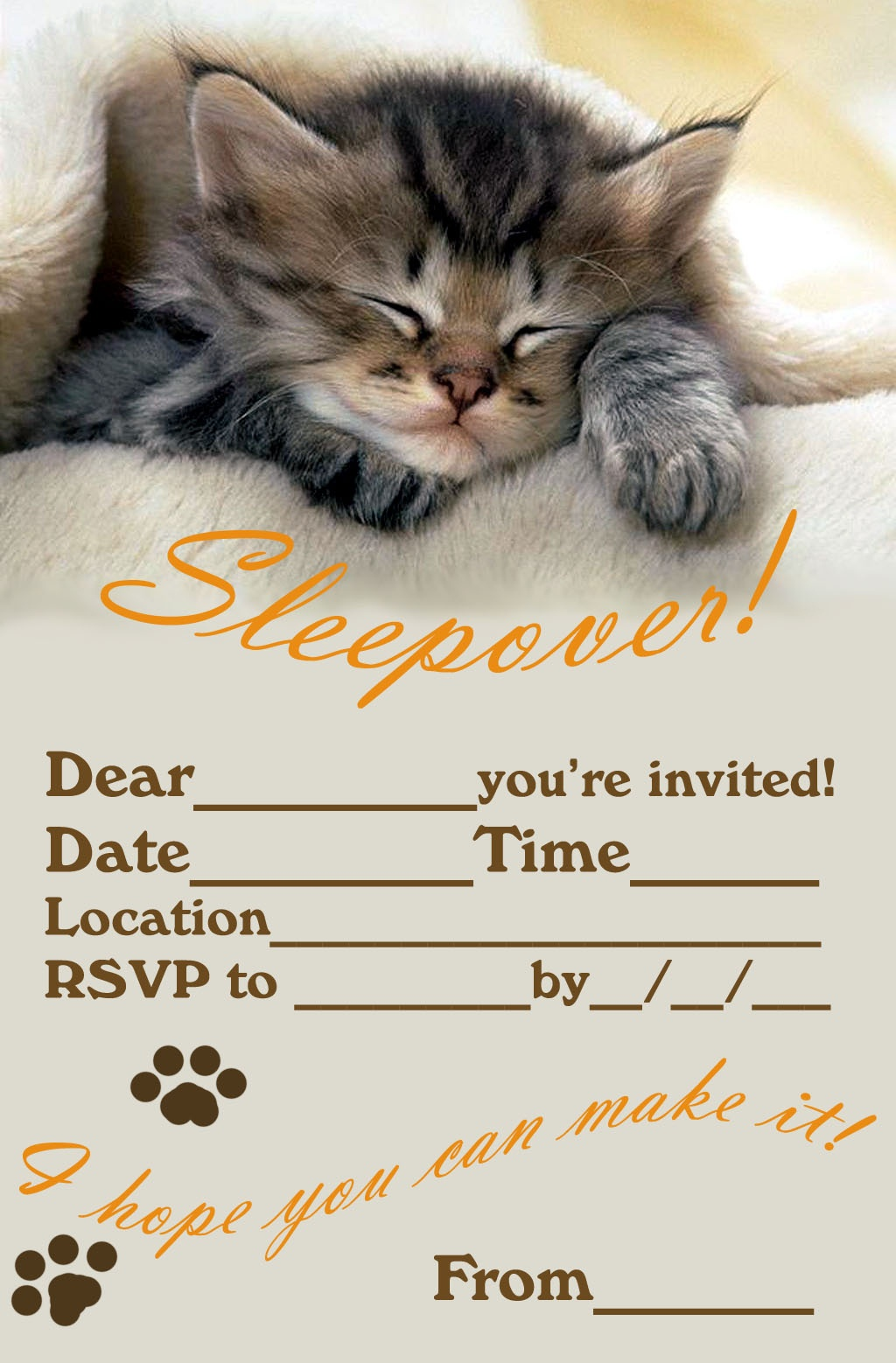 50 Beautiful Slumber Party Invitations | Kittybabylove - Free Printable Kitten Birthday Invitations