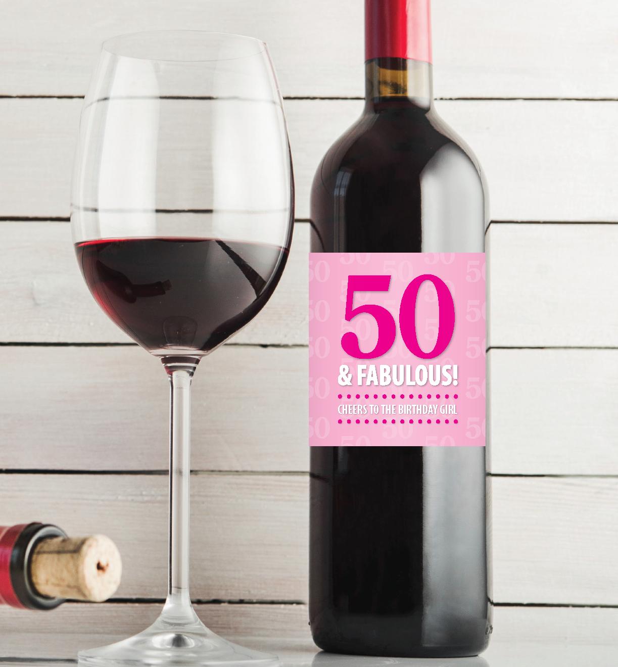 50 & Fabulous – 50Th Birthday Pdf Printable Wine Label Download In - Free Printable Birthday Wine Labels