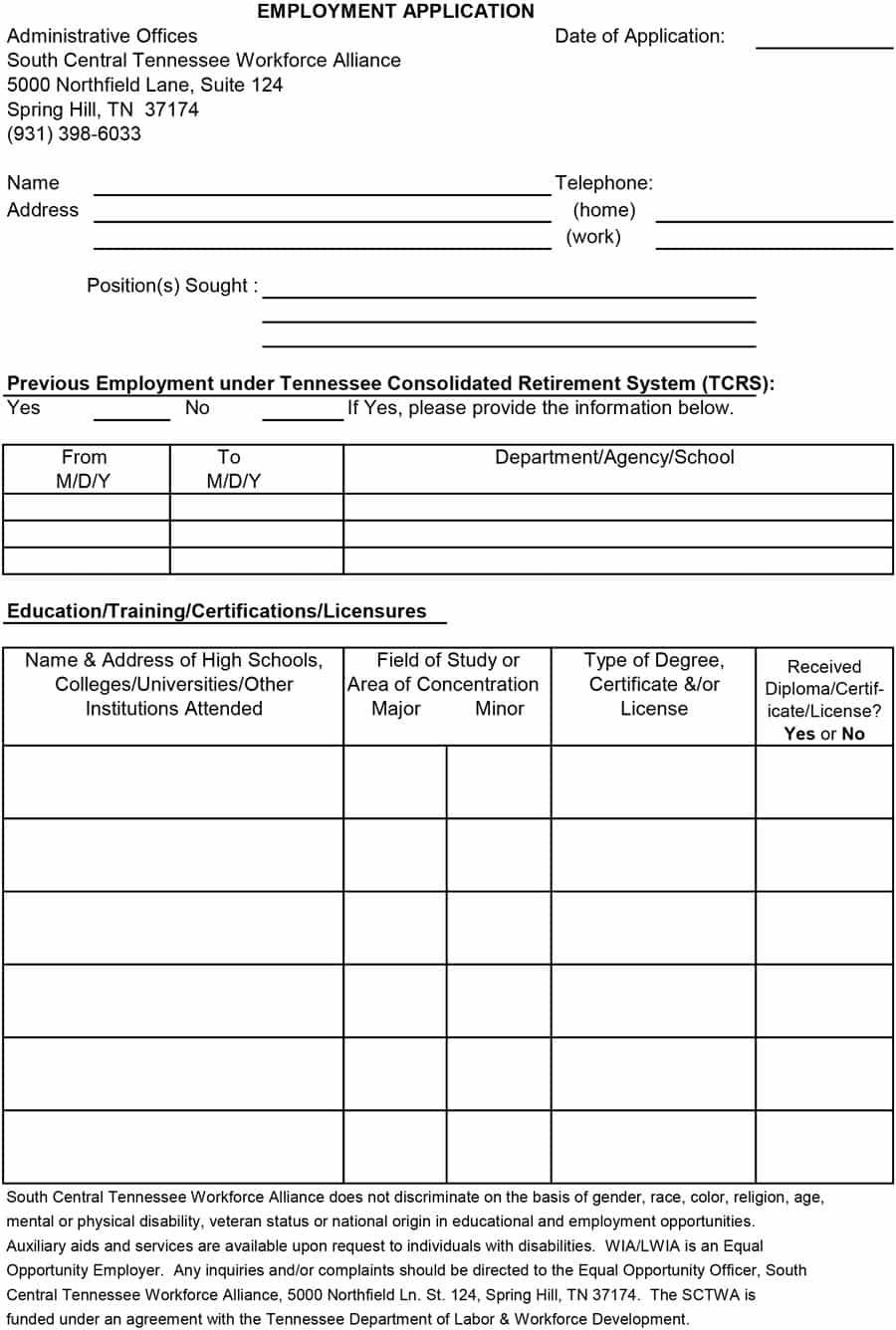 50 Free Employment / Job Application Form Templates [Printable] ᐅ - Free Printable Employment Application