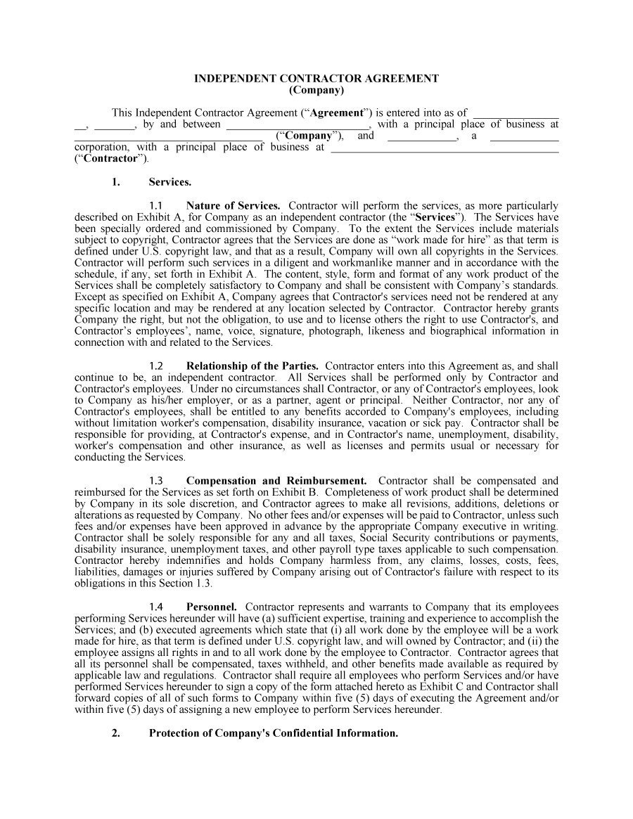 50+ Free Independent Contractor Agreement Forms & Templates - Free Printable Independent Contractor Agreement